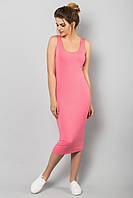 Стильное облегающее миди платье розового цвета, платье-майка