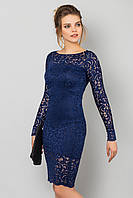 Вечернее облегающее гипюровое платье с длинным рукавом Темно-синее