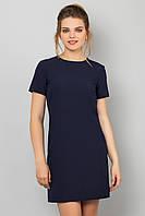 Женское прямое темно-синее платье с коротким рукавом и молнией сзади S (44), синий