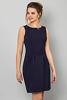 Элегантное базовое женское платье мини без рукавов Темно-синее