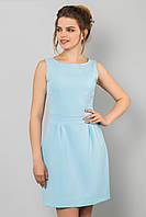 Элегантное базовое женское платье мини без рукавов Голубое