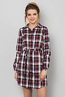 Стильное женское клетчатое платье-рубашка с поясом красно-черное