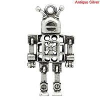 """Подвеска, Металлическая, Цвет: античное серебро, """" Робот """", 4.2см x 22мм"""