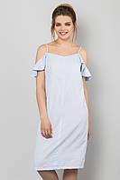 Летнее платье-сарафан с воланами на плечах Голубое в полоску