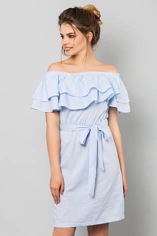 11a3c910361 Голубое платье в мелкую полоску с двойным воланом и пояском - купить ...