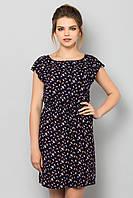 Легкое летнее женское платье с принтом Попугаи на темно-синем