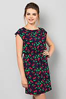 Легкое летнее женское платье с принтом Вишенки