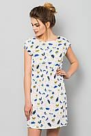 Легкое летнее женское платье с принтом Бабочки на белом