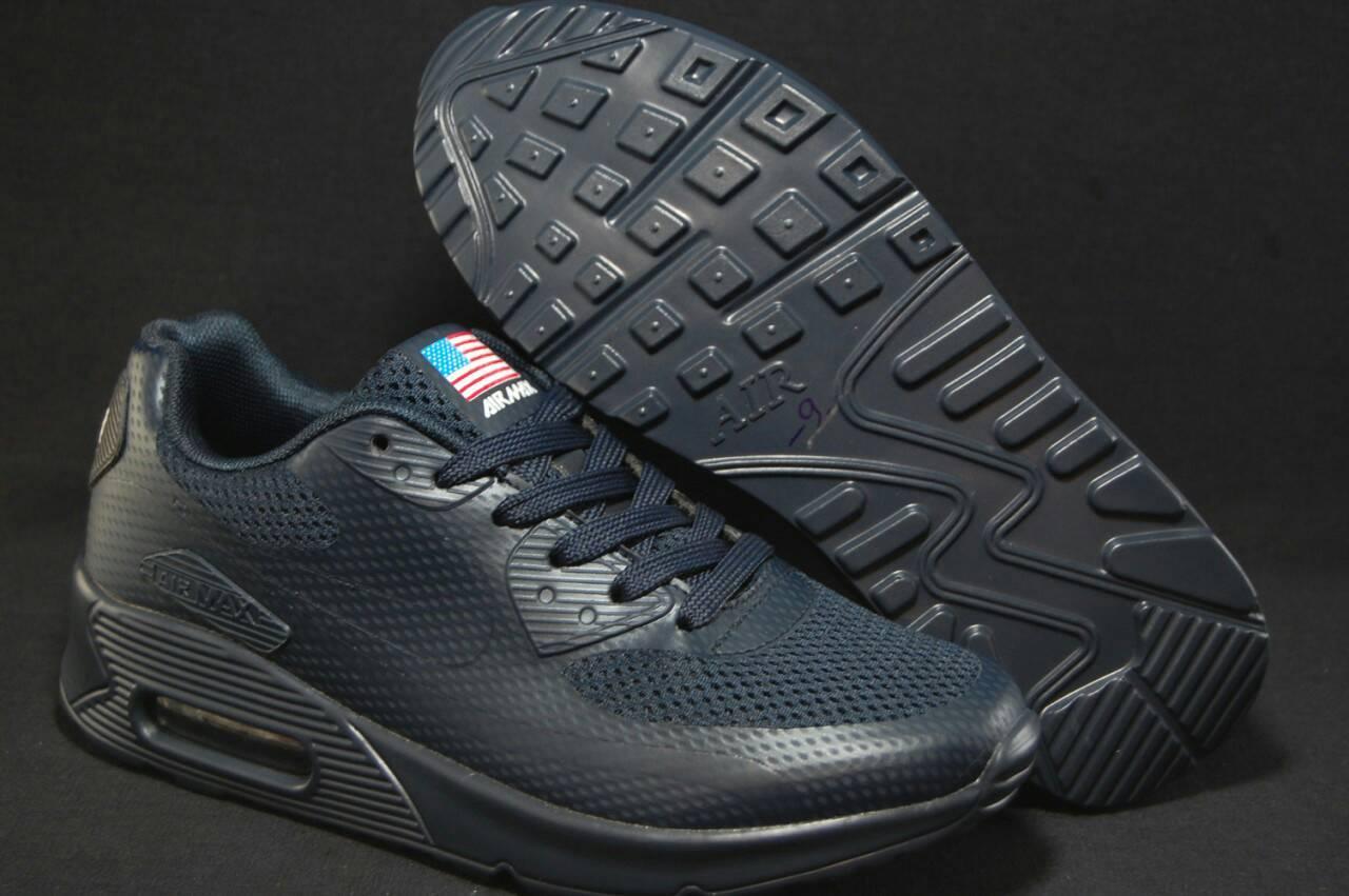 Сині кросівки сітка в стилі найк аір макс Nike Air Max 90 Hyperfuse(розміри в наявності:37,38)