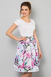 Пышная летняя женская миди юбка Цветущая яблоня