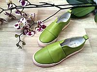 Слипоны мокасины женские из гладкой кожи оливковый модный дизайн, осенняя женская обувь из кожи