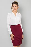 Классическая бордовая женская юбка-карандаш до колен