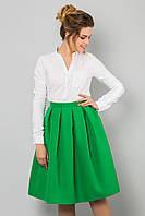 Модная женская пышная миди юбка зеленого цвета