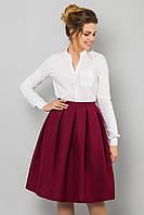 Модная женская пышная миди юбка бордового цвета