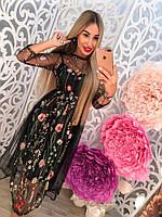 Красивое платье с органзой и вышивкой тренд сезона