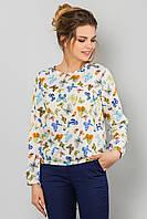 Бежевая блузка с длинным рукавом с принтом Бабочки