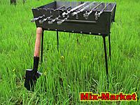 Раскладной мангал - чемодан на 8 шампуров + саперная лопатка