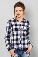 Модная женская короткая рубашка с длинным рукавом в крупную клетку