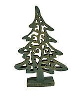 Декоративная игрушка Елка винтаж зеленая 16 см