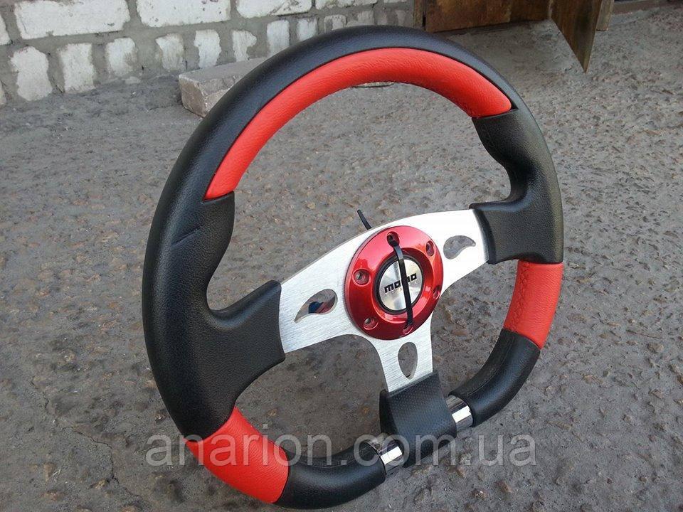 Руль из натуральной кожи Momo №563 (красный)