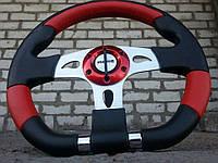 Руль из натуральной кожи Момо №563 (красный)