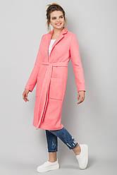 Стильное женское прямое пальто букле на подкладке на осень розового цвета