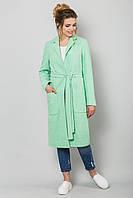 Стильное женское прямое пальто букле на подкладке на осень мятного цвета