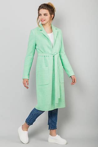 93363ac170f Стильное женское прямое пальто букле на подкладке на осень мятного цвета