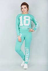 Модный спортивный женский костюм 18 со свитшотом мята