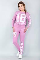 Модный спортивный женский костюм 18 со свитшотом розовый