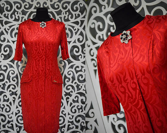 Шикарное женское платье с набивным рисунком и брошью ткань *габардин* 48, 50, 52 размер батал, фото 2