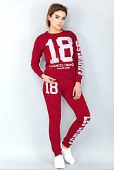 Модный спортивный женский костюм 18 со свитшотом красный