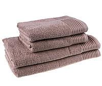 Однотонное махровое большое полотенце кофейное с бордюром 100% хлопок стандарт