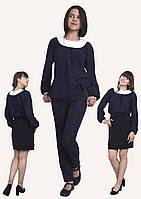 Блузка детская для девочек  М-1094  рост 140-170 синяя, фото 1