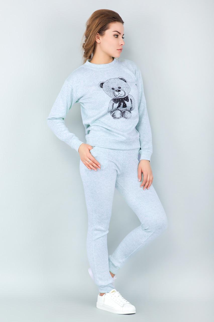 40cc113776b86 Женский спортивный костюм для дома с мишкой мятный -