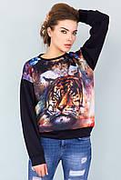 Женский черный оверсайз свитшот с принтом Тигр