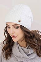Женская шапка «Агата» Без Помпона, Флис, Под закрепку, Белый