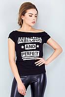 Модная женская черная футболка с принтом Fabulous and Perfect
