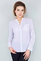 Нарядная женская тонкая белая шифоновая рубашка с гипюром