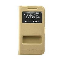 Чехол (книжка) с окошком для Samsung G800H Galaxy S5 mini золотой