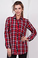 Модная женская рубашка с длинным рукавом в трехцветную клетку