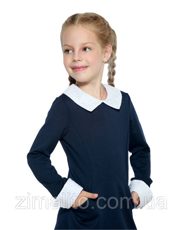 Платье с кружевами темно-синий для девочки