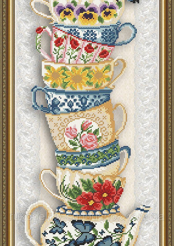 Схема на ткани под вышивку бисером Art Solo VKA3078. Чашки на бежевом