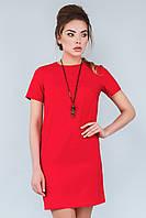 Женское прямое красное платье с коротким рукавом и молнией сзади