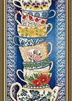 Схема на ткани под вышивку бисером Art Solo VKA3079. Чашки на синем