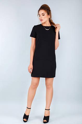 Женское прямое черное платье с коротким рукавом и молнией сзади, фото 2 083c34dcfca