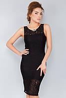 Черное вечернее гипюровое платье без рукавов