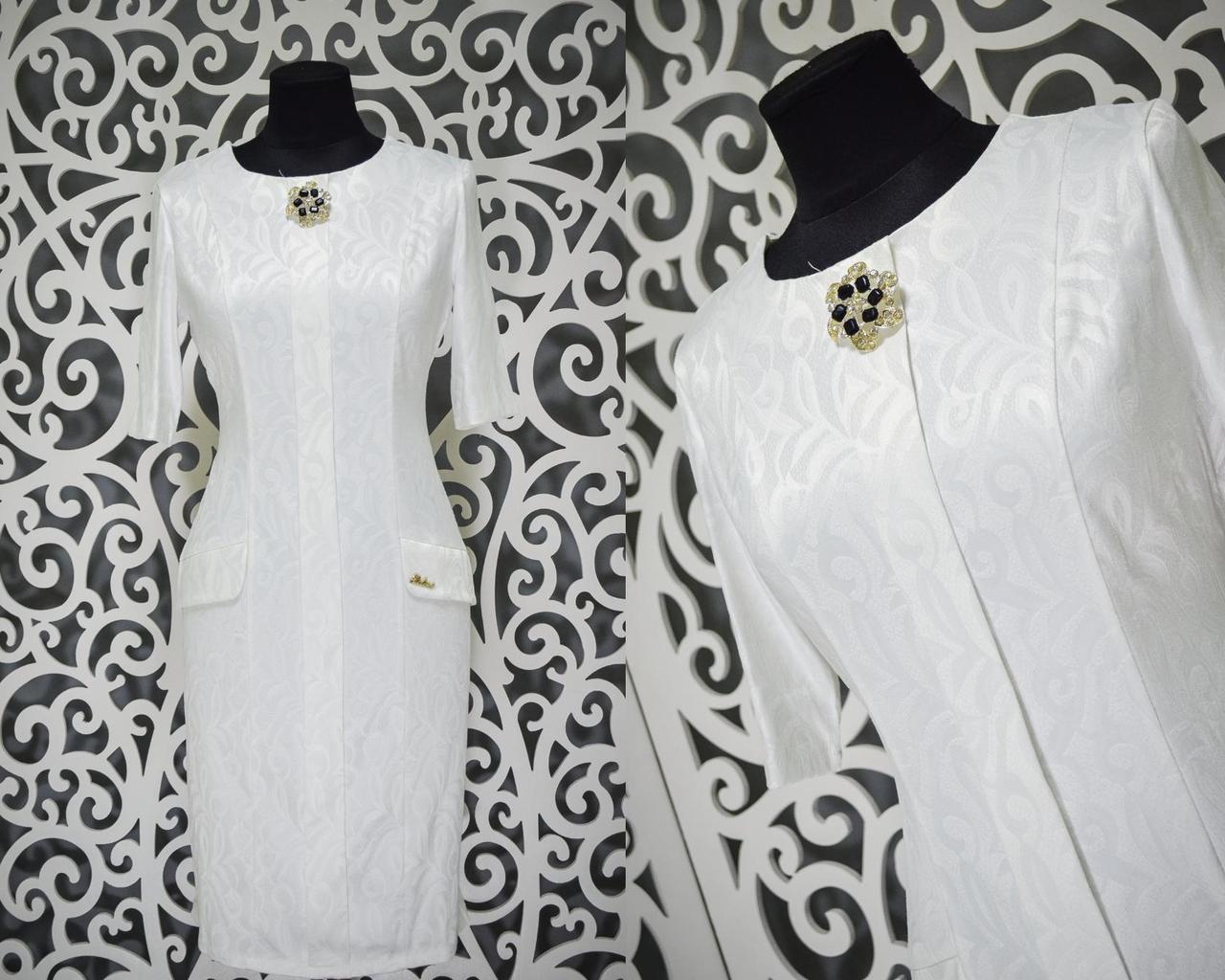 Шикарное женское платье с набивным рисунком и брошью ткань *габардин* 52 размер батал