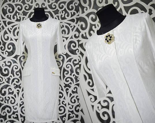 Шикарное женское платье с набивным рисунком и брошью ткань *габардин* 52 размер батал, фото 2
