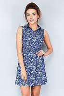 Женское летнее платье-рубашка без рукавов с принтом в цветочек